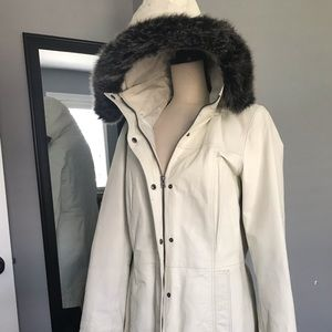 Off White Leather Winter Coat with detachable Hood